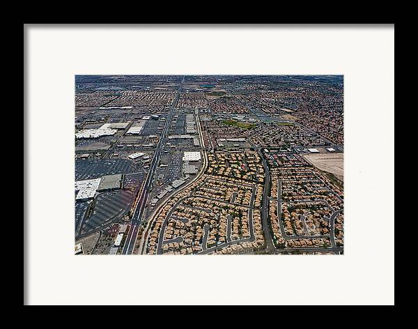 Framed Print featuring the digital art Arial View Of Las Vegas by Susan Stone