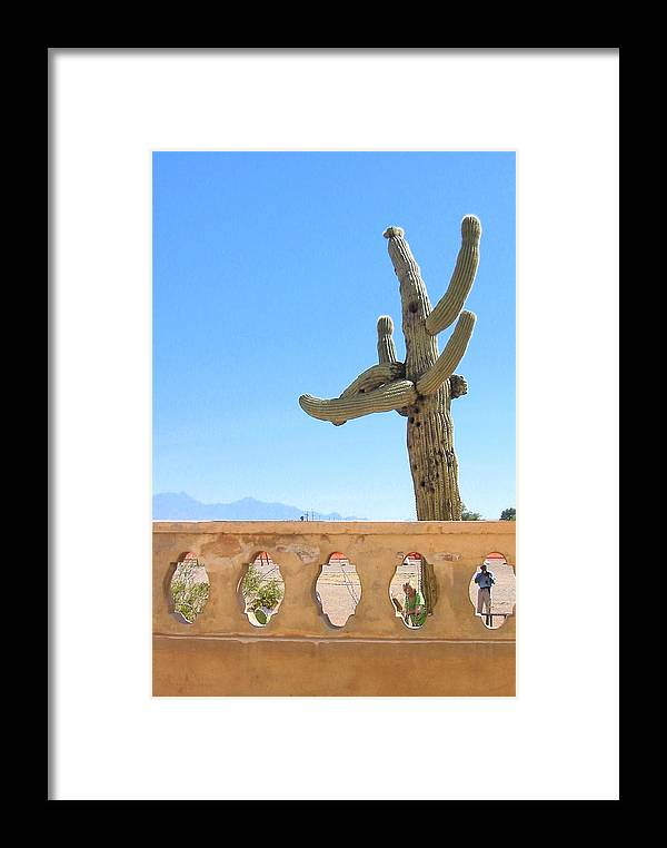 Landscape Photo Framed Print featuring the photograph Arizona Wall With Saguaro by Sarah Gayle Carter