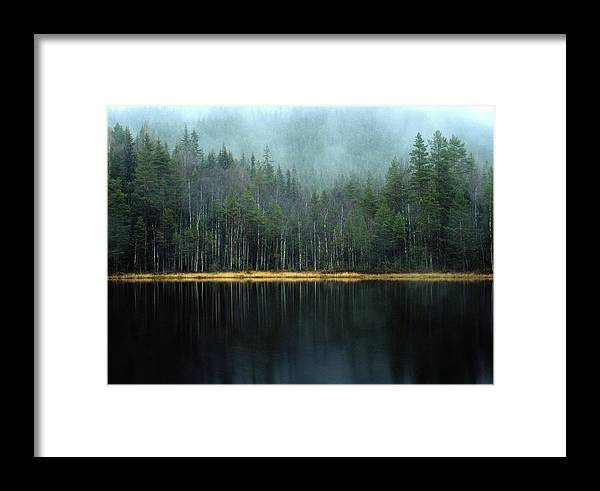 Scenic Views Framed Print featuring the photograph Arrow-straight Evergreens Are Reflected by Mattias Klum