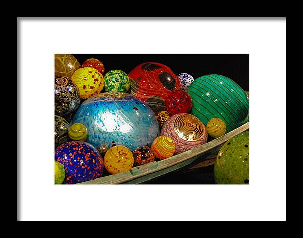 Art Glass Framed Print featuring the photograph Art Glass Balls In Boat by Peggy Zachariou