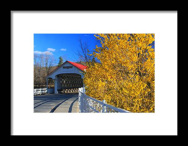 Covered Bridge Framed Print featuring the photograph Ashuelot Covered Bridge And Forsythia by John Burk