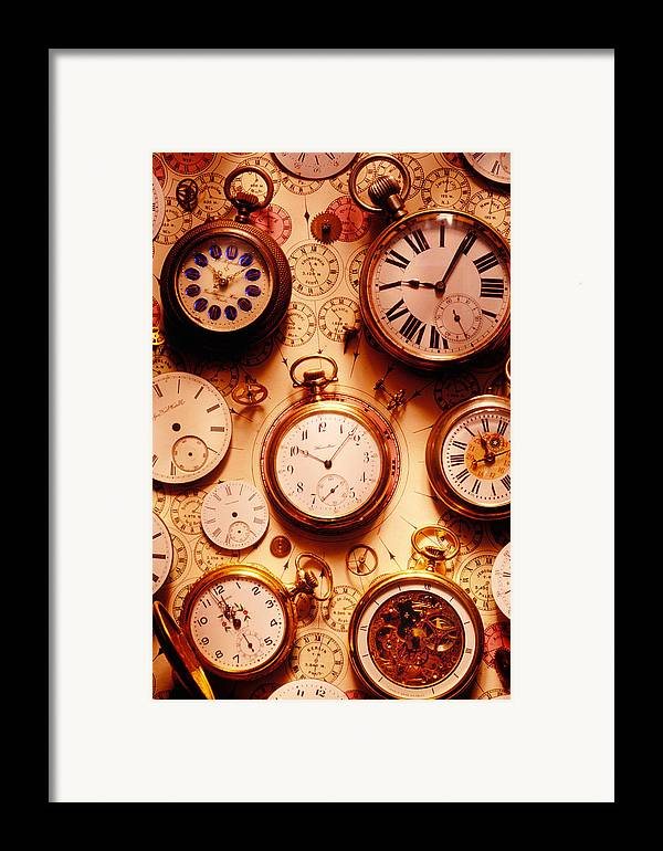 Time Framed Print featuring the photograph Assorted Watches On Time Chart by Garry Gay