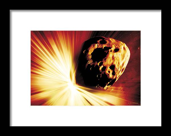 Explosion Framed Print featuring the photograph Asteroid Deflection, Stand-off Explosion by Detlev Van Ravenswaay
