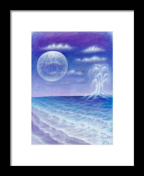 Aliens Framed Print featuring the painting Astral Beach by Michelle Cavanaugh-Wilson