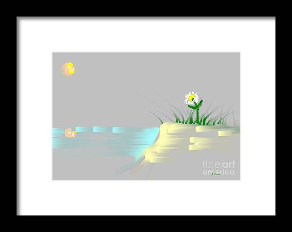 Flower Framed Print featuring the painting At The Beach by George Pedro