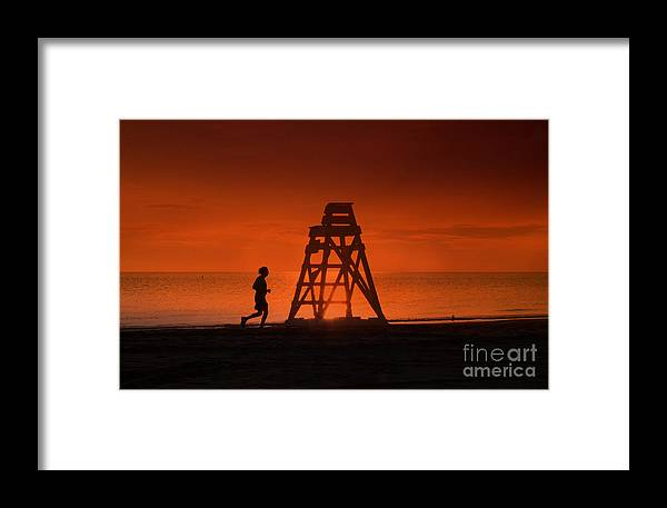 Orange Framed Print featuring the photograph At The Beach In The Morning by Milena Ilieva