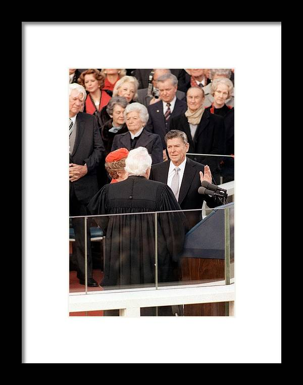 History Framed Print featuring the photograph At The Capitol Building Ronald Reagan by Everett