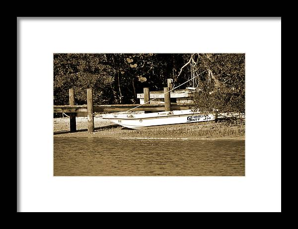 Skiff Framed Print featuring the photograph At The Ready by Christine Stonebridge