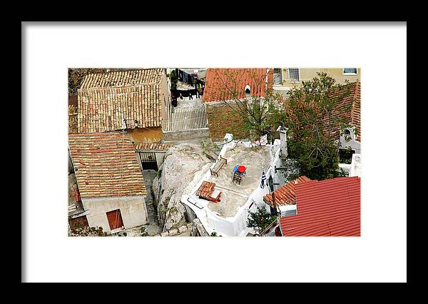 Athens Framed Print featuring the photograph Athens Rooftop Oasis by John Banegas