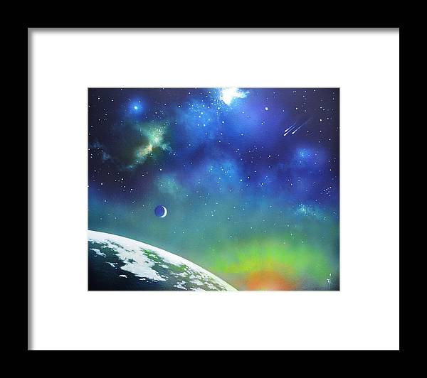 Auroa Borealis Framed Print featuring the painting Auroa Borealis from space by Thomas Kolendra