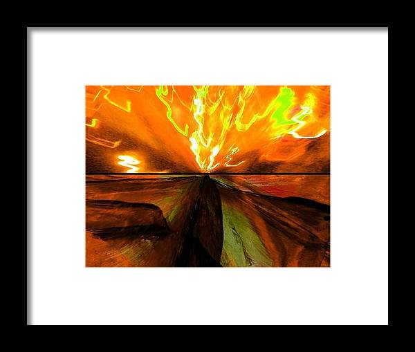 Landscape Framed Print featuring the digital art Aurora Borealis by Joseph Ferguson