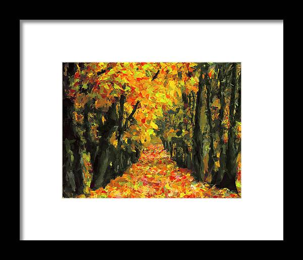 Autumn Framed Print featuring the digital art Autumn Alley by Yury Malkov
