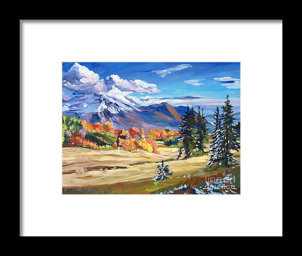 Landscape Framed Print featuring the painting Autumn In The Foothills by David Lloyd Glover