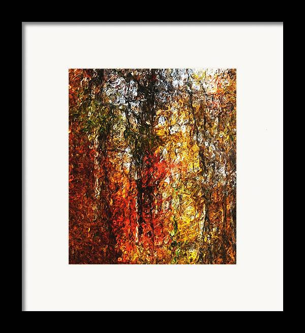 Photo Manipulation Framed Print featuring the digital art Autumn In The Woods by David Lane