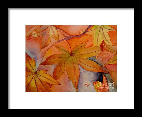 Leaves Framed Print featuring the painting Autumn Leaves by Bonnie Schallermeir
