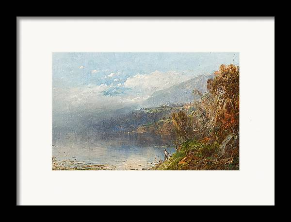 Autumn On The Androscoggin (oil On Canvas)fall; Seasons; Autumnal; River; North America; North American; Maine; New Hampshire; New England; Landscape; Mist; Misty; Wild; Wilderness; Remote; Male; Fisherman; Fishing; Solitary; Riverbank; Landscape Framed Print featuring the painting Autumn On The Androscoggin by William Sonntag
