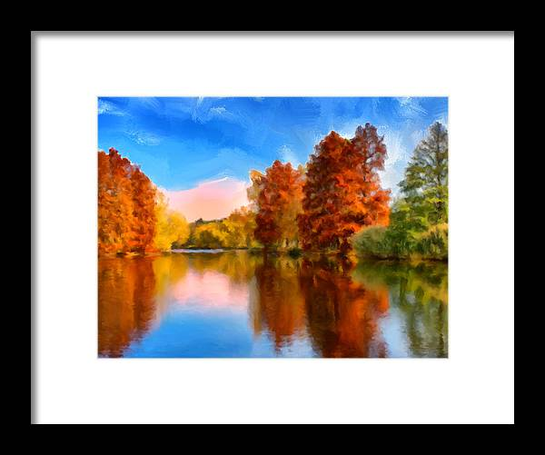 Autumn Framed Print featuring the painting Autumn On The Lake by Dominic Piperata