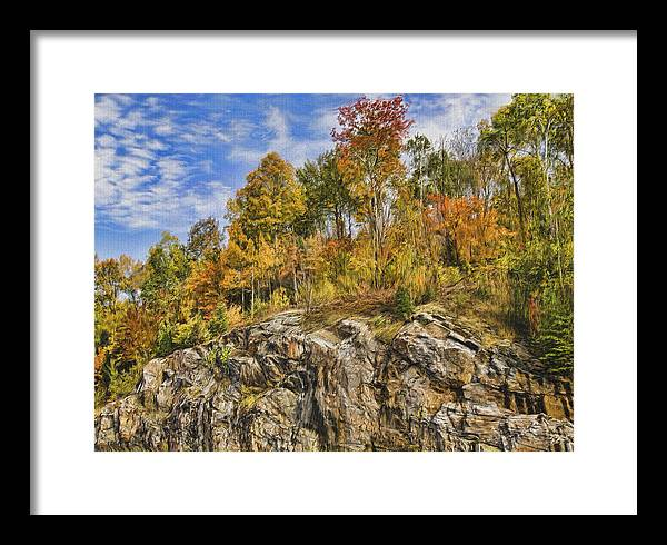 Sunny Framed Print featuring the digital art Autumn on the Rocks by Jo-Anne Gazo-McKim