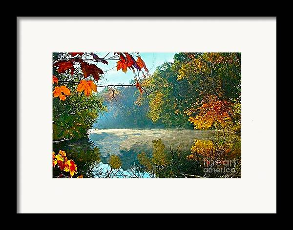 White River Scene Framed Print featuring the photograph Autumn On The White River I by Julie Dant