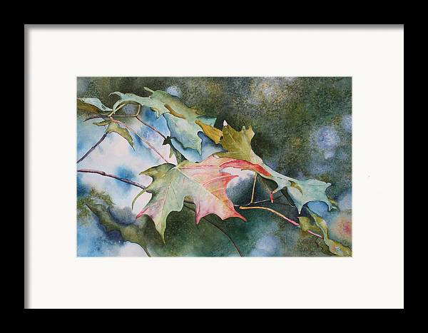 Close Focus Nature Scene Framed Print featuring the painting Autumn Sparkle by Patsy Sharpe