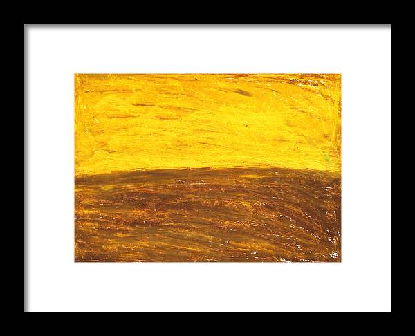 Abstract Landscape Framed Print featuring the painting Autumn Sunset Over Harvest Field by Kazuya Akimoto