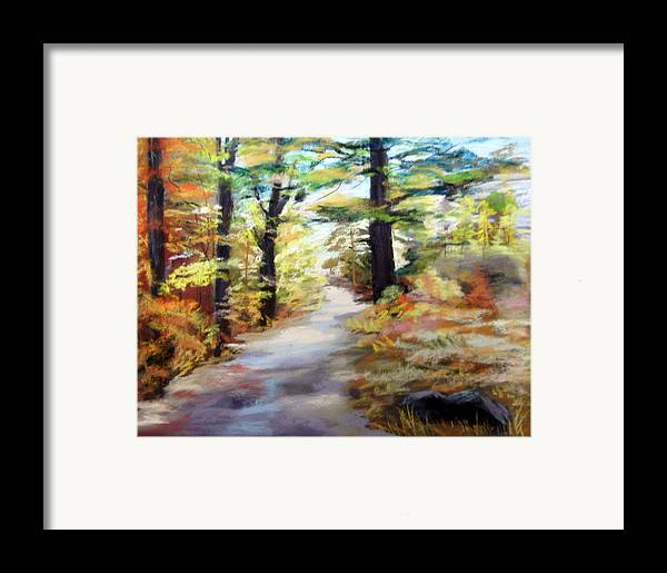 Landscape Framed Print featuring the painting Autumn Walk In The Woods by Trudy Morris