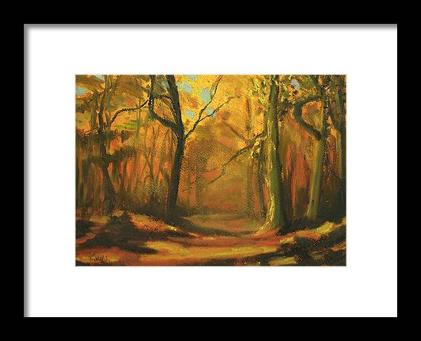 Woods Framed Print featuring the pastel Autumn Woods 1 by Paul Mitchell