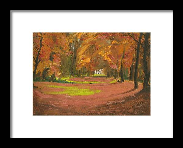Pastels Framed Print featuring the pastel Autumn Woods 3 by Paul Mitchell