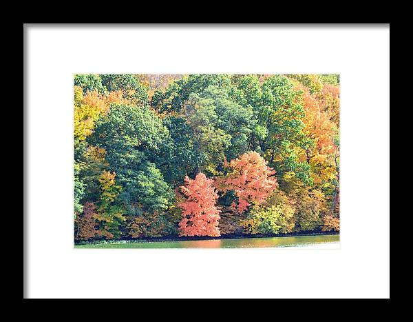Lake Geode Framed Print featuring the photograph Autumn's Patchwork by Kim Hymes