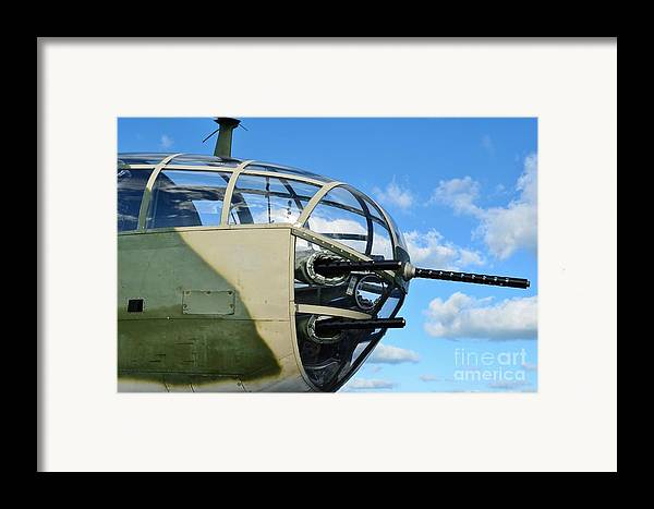 North American B-25j Mitchell Framed Print featuring the photograph B-25j Nose by Lynda Dawson-Youngclaus