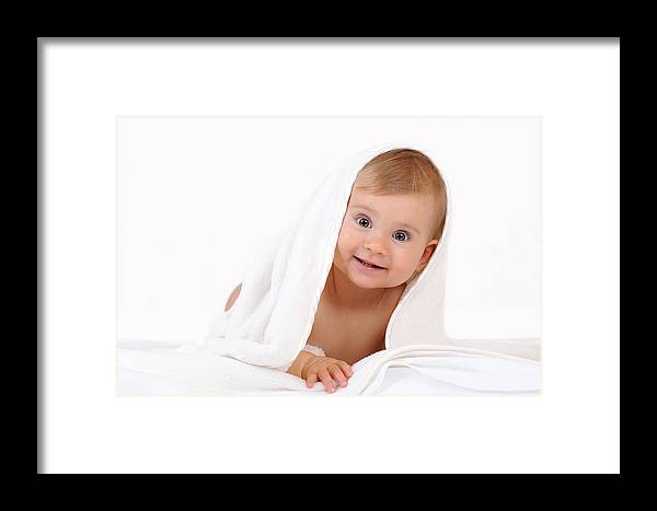Adorable Framed Print featuring the photograph Baby At White by Waldek Dabrowski