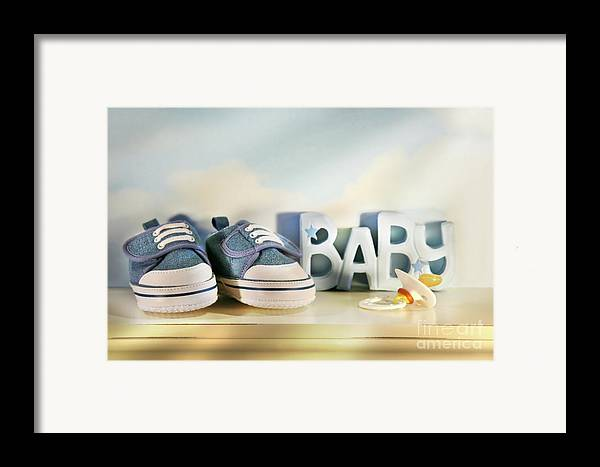 Baby Framed Print featuring the photograph Baby Denim Shoes by Sandra Cunningham