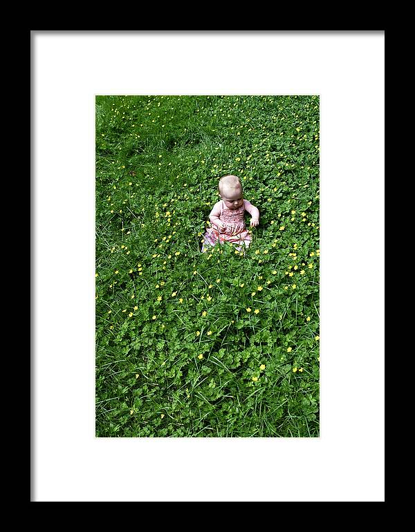 Beautiful Baby Framed Print featuring the photograph Baby In A Field Of Flowers by Lorraine Devon Wilke