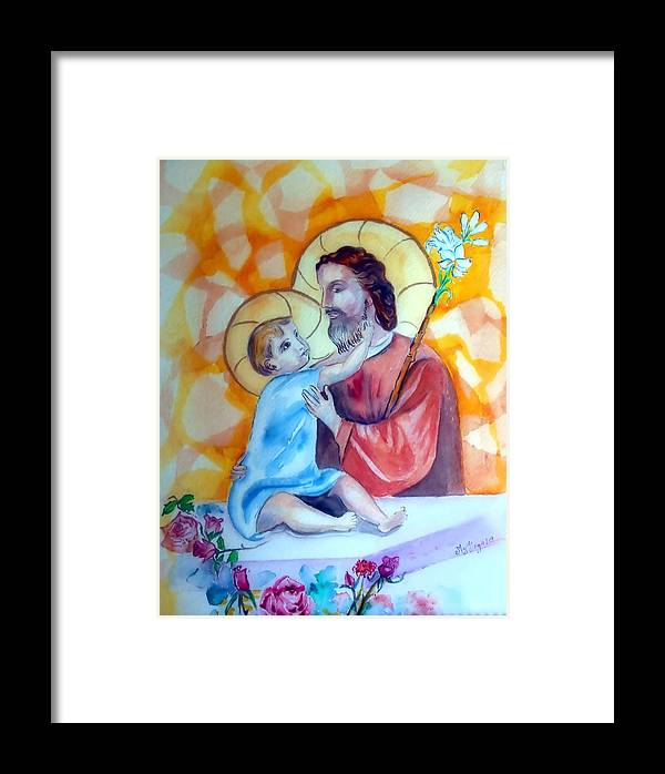 Catholic Art Framed Print featuring the painting Baby Jesus by Myrna Migala