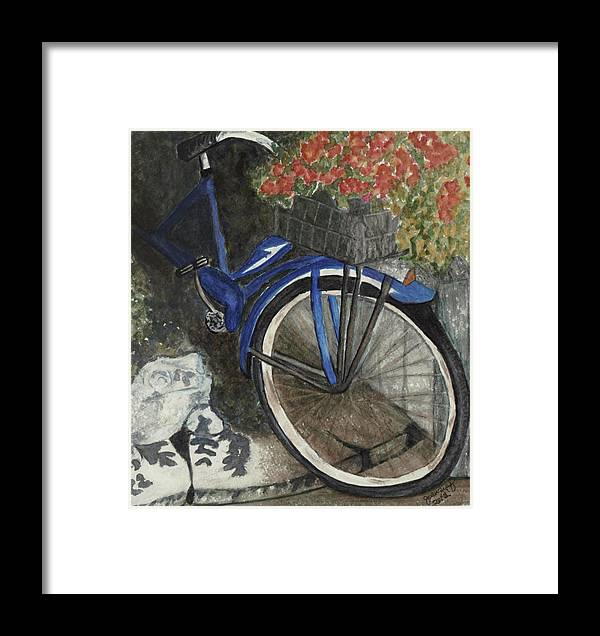 Bicycle Framed Print featuring the painting Back Door At Brick Street Cafe by Joan Zepf