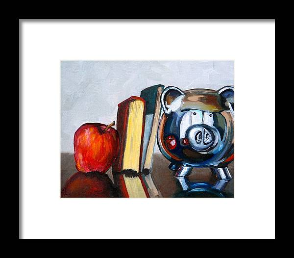 Apple Framed Print featuring the painting Back To School by Amy Higgins