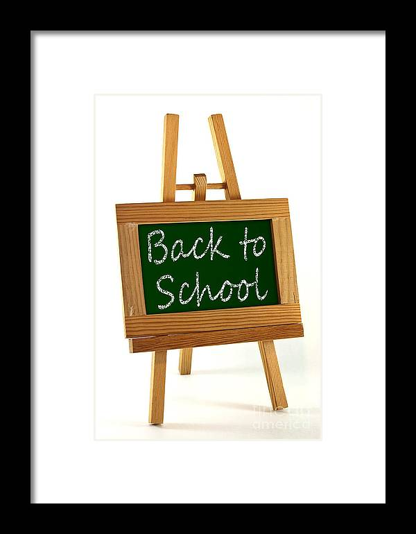 School Framed Print featuring the photograph Back To School Sign by Blink Images