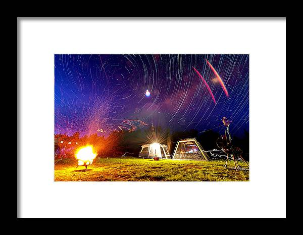 Fire Framed Print featuring the photograph Back Yard Camping by Aaron Priest