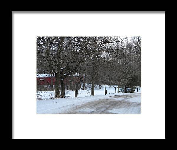 Snow Framed Print featuring the photograph Baker's Camp Covered Bridge by Helen ONeal