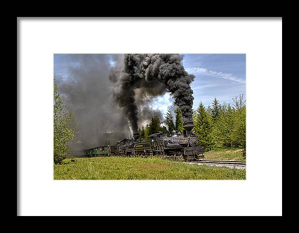 Train Shay cass Scenic Railroad Cass steam Locomotive Framed Print featuring the photograph Bald Knob Double Header by Tom Steele