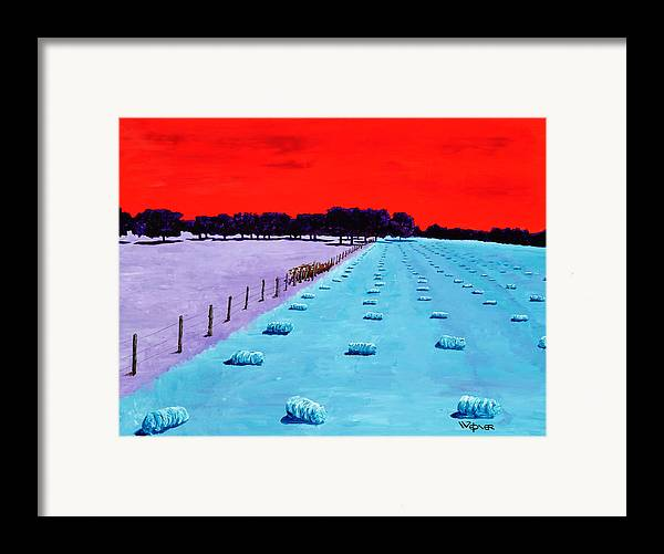 Landscape Framed Print featuring the painting Baled Hay by Randall Weidner