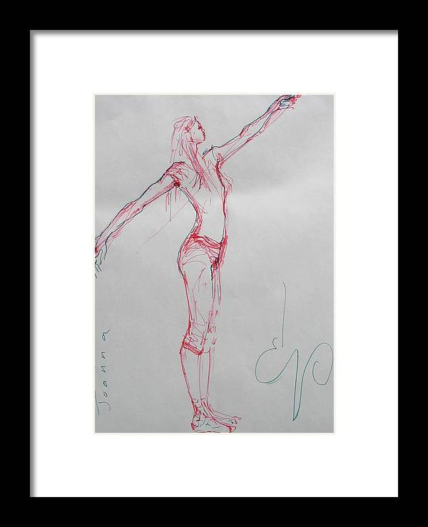 Nudes Framed Print featuring the painting Ballerina 8048 by Elizabeth Parashis