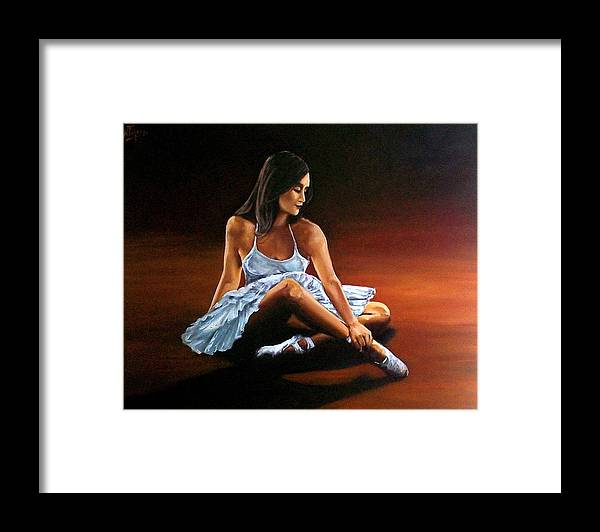 Ballerina Framed Print featuring the painting Ballerina by Natalia Tejera