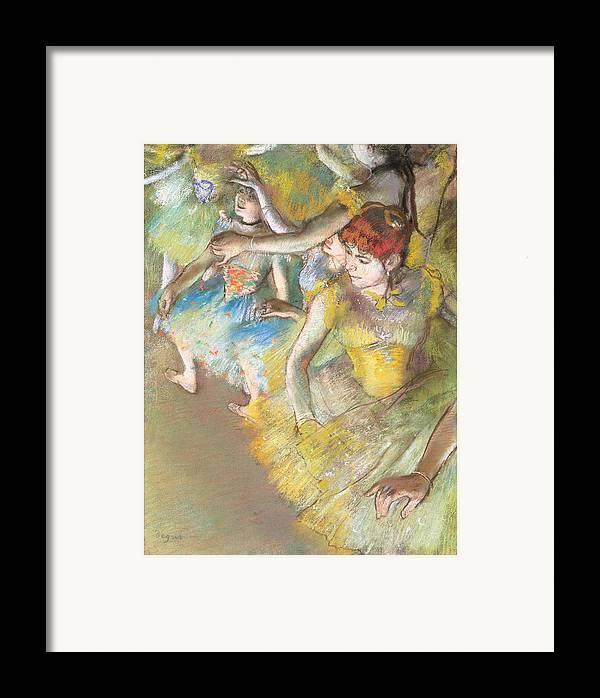 Ballet Dancers On The Stage Framed Print featuring the pastel Ballet Dancers On The Stage by Edgar Degas