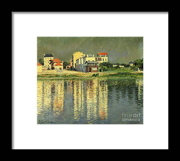 Bord De La Seine A Argenteuil Framed Print featuring the painting Banks Of The Seine At Argenteuil by Gustave Caillebotte