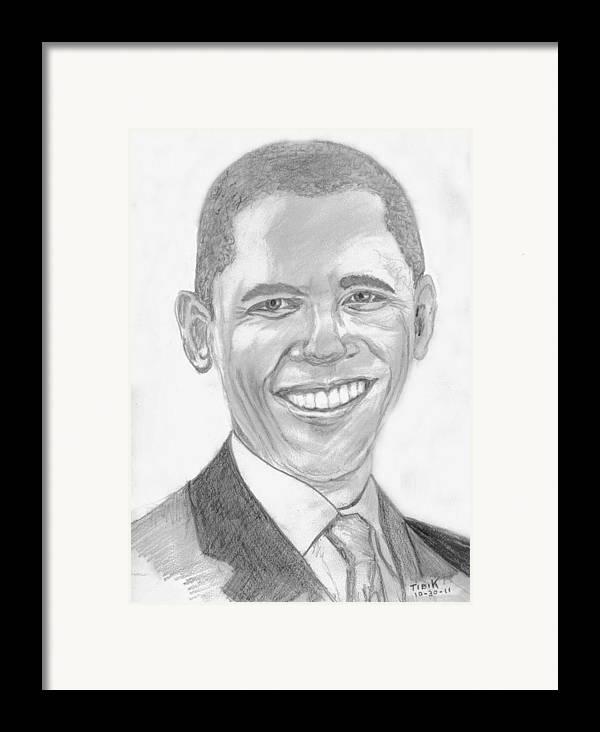 Barack Obama Framed Print featuring the drawing Barack Obama by Tibi K