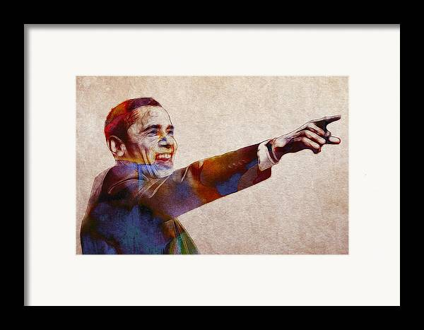 Barack Obama Water Watercolor Color Painting Texture President Usa Us 44 44th Framed Print featuring the painting Barack Obama Watercolor by Steve K