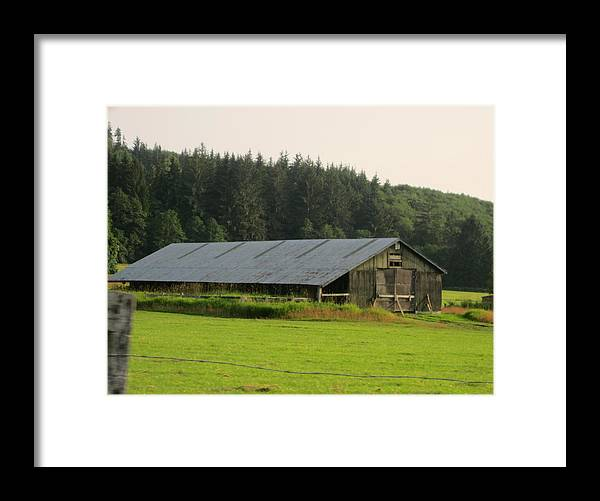 Nice Barn Framed Print featuring the photograph Barn And Barbwire by Kym Backland