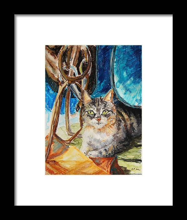 Cat Framed Print featuring the drawing Barn Cat by Barbara Pommerenke