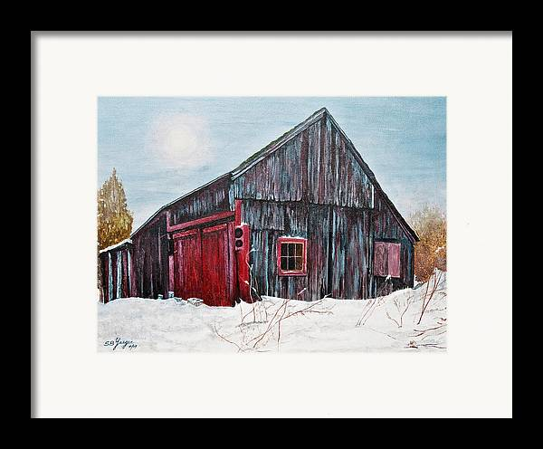 Framed Print featuring the painting Barn In Snow Southbury Ct by Stuart B Yaeger
